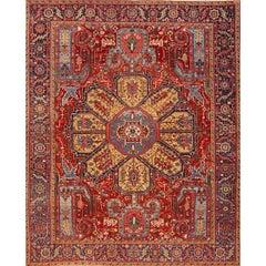 """Antique Persian Heriz Rug, 10'4"""" x 13'8"""""""