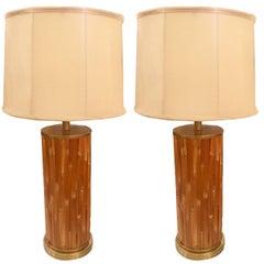 Pair of Midcentury American Bamboo Lamps