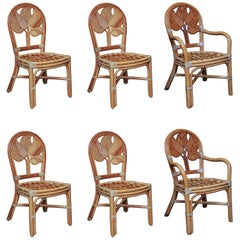 Set of Six Midcentury Rattan Dining Chairs