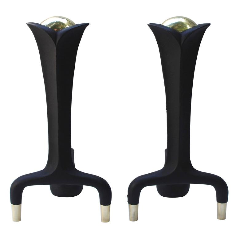 Pair of Donald Deskey Andirons For Sale