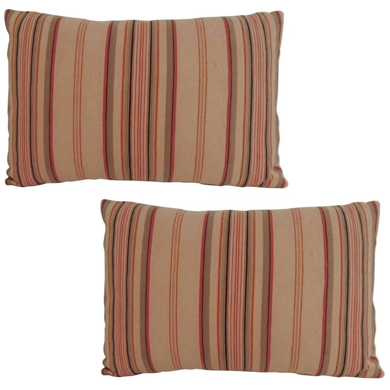 Decorative Pillows With Stripes : Pair of Vintage French Pink and Red Stripes Lumbar Decorative Pillows For Sale at 1stdibs
