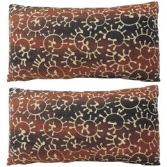 Pair of Vintage Paisley Linen Bolster Decorative Pillows