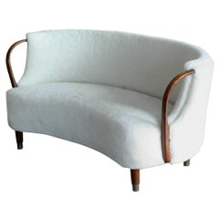 Viggo Boesen Style Curved Sofa Model No. 96 in Lambswool by N.A. Jørgensen