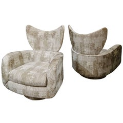 Pair of Vladimir Kagan Large Swivel Greige Lounge Chairs for Directional