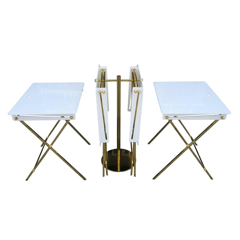 Set of Four Acrylic and Brass Serving Trays with Stand by Charles Hollis Jones For Sale