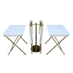 Set of Four Acrylic and Brass Serving Trays with Stand by Charles Hollis Jones