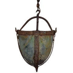 16th Century Iron and Copper Secchio Pozzo or Well Bucket Mounted as a Lantern