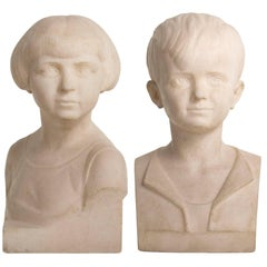 Art Deco Pair of Marble Busts of a Girl and Boy by B. Tedeschi