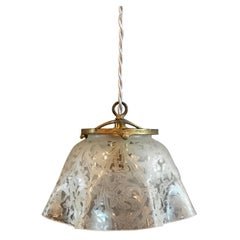 Antique Etched Foliate Glass and Brass Pendant Light