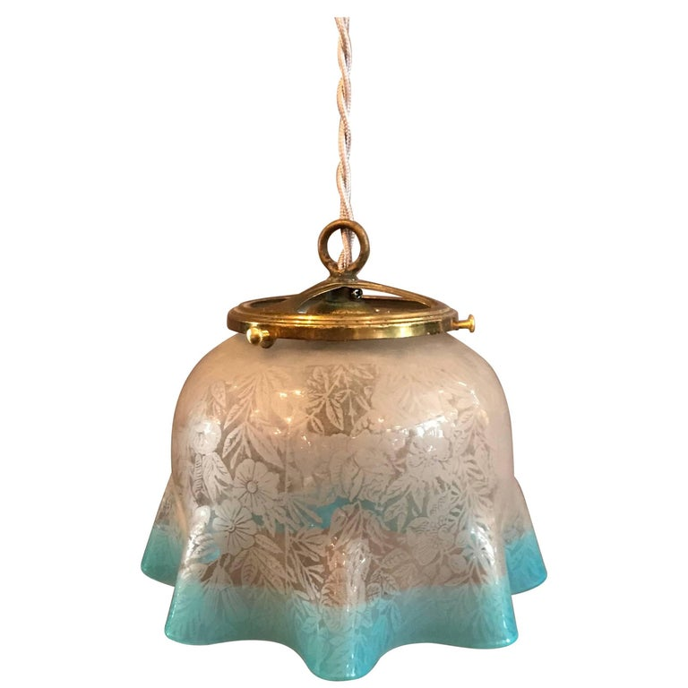 Antique Etched Foliate Glass Pendant Light with Blue Trim