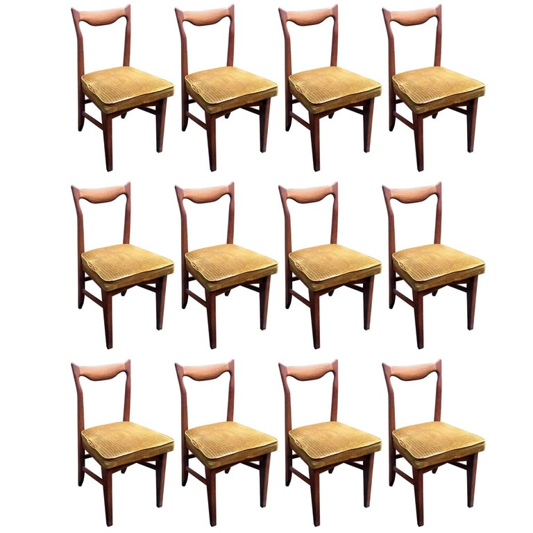 Guillerme et Chambron Set of 12 Oak Dining Chairs, circa 1965 For Sale