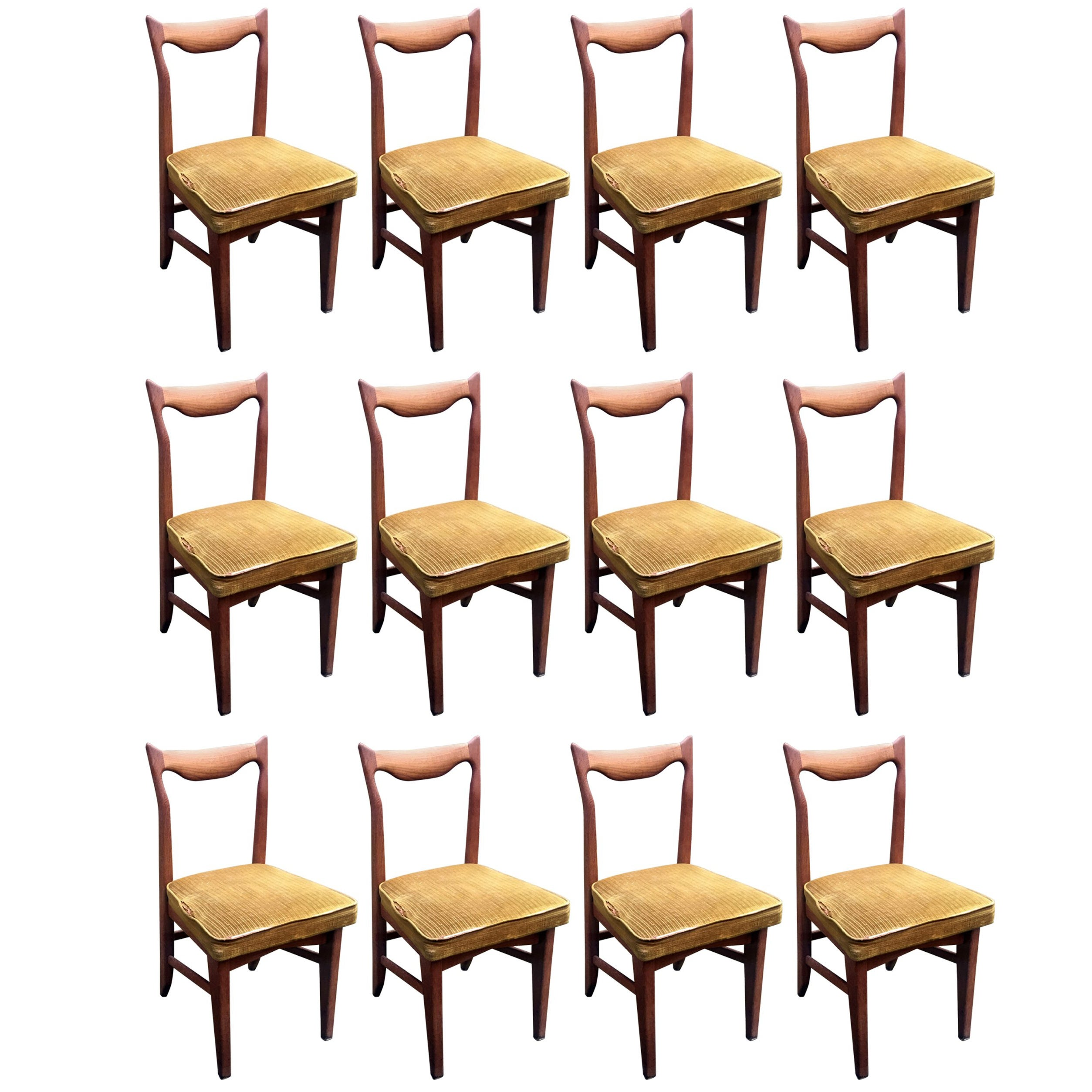 Guillerme et Chambron  12 Oak Dining Chairs, circa 1965