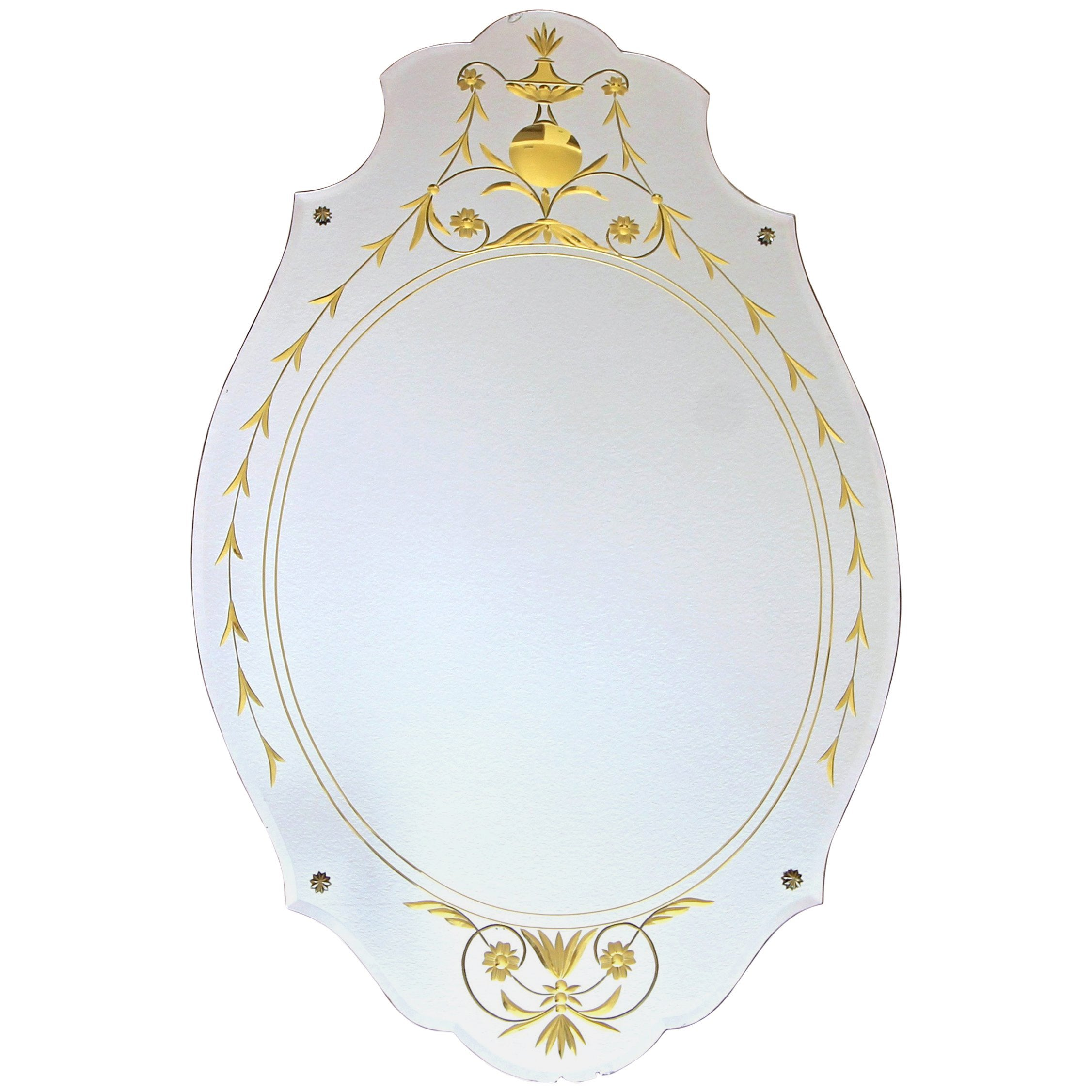 Art Deco Etched Gold Wall Mirror