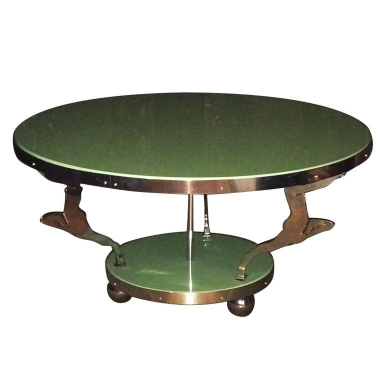 Deco Chrome Coffee Table: Rare Art Deco Chrome And Glass Dancer Coffee Table At 1stdibs