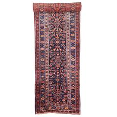 Late 19th-Century Antique Persian Kurd Runner, Long Persian Runner