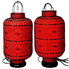 Pair of Asian Red Lanterns, Linen Hand-Wired, Electrified