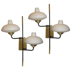 Pair of Mid Century Italian Two-Arm Sconces by Stilnovo