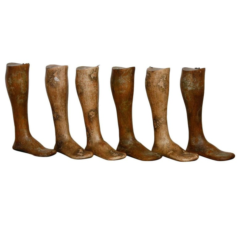 19th Century Wooden Riding Boot Molds or Forms For Sale