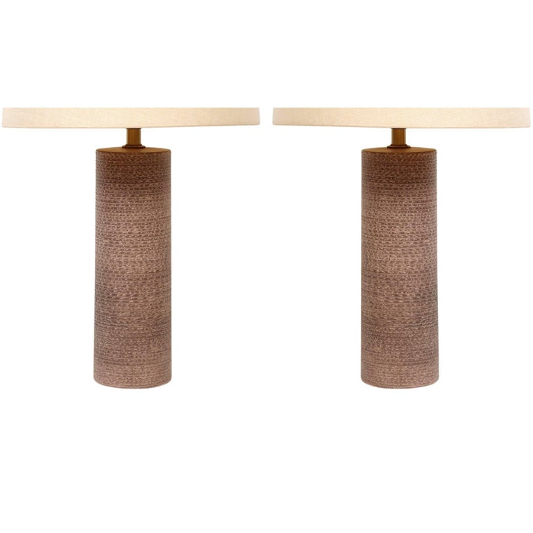 Pair of Studded Pottery Table Lamps by Design Technics