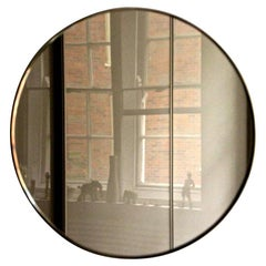 Round Bronze Orbis Mirror with Brass Frame 79cm Diam.