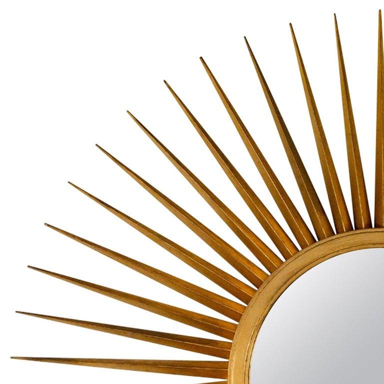 American Sunburst Mirror in Antique Gold Metal Leaf For Sale