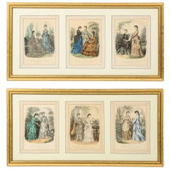 Antique 19th Century Spanish Fashion Prints in Giltwood Frame, Pair