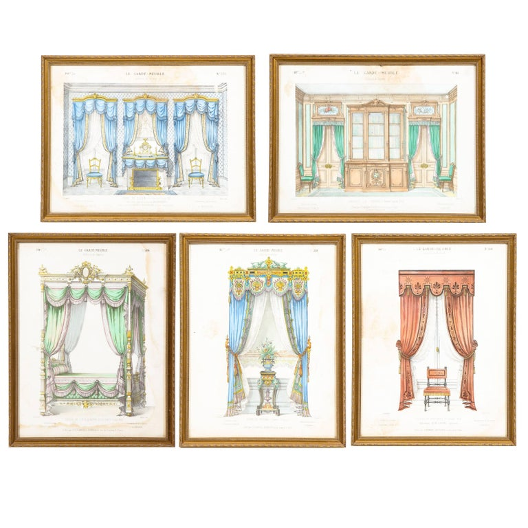 Antique 19th Century Louis XVI French Lithographs Le Garde-Meuble, Set of Ten