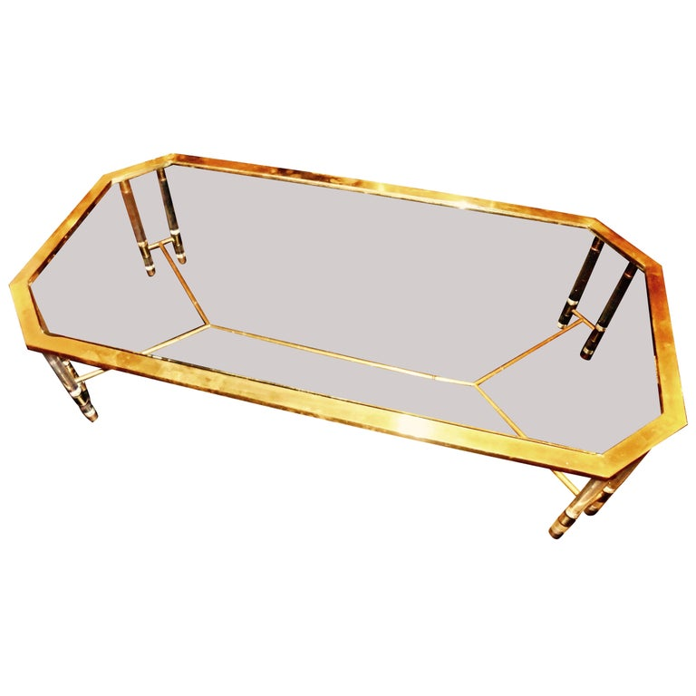 Large Brass and Lucite Coffee Table by Romeo Rega