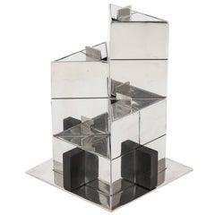 Puiforcat Nickel-Plated and Wood Geometric Tea Set