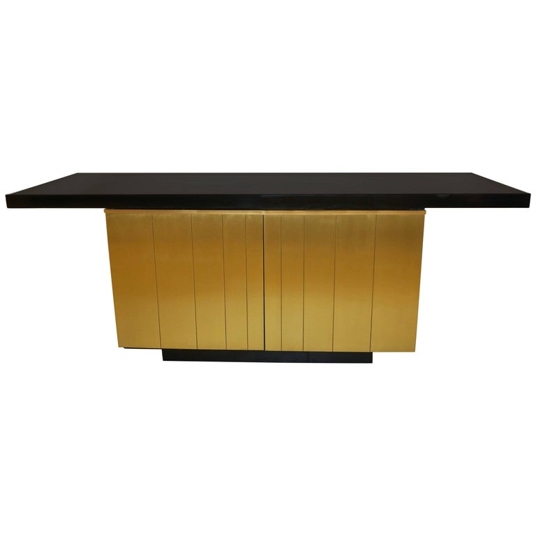 1970s Frigerio Vintage Italian Black & Brass Freestanding Sideboard/Console For Sale