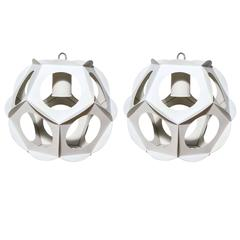 Pair of 1960s Off White Cut Steel Molecular Hanging Pendants