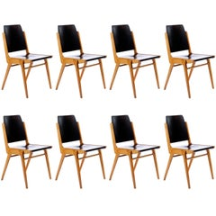 Set of Eight Stacking Chairs by Franz Schuster, Bicolored Beech Black, Austria
