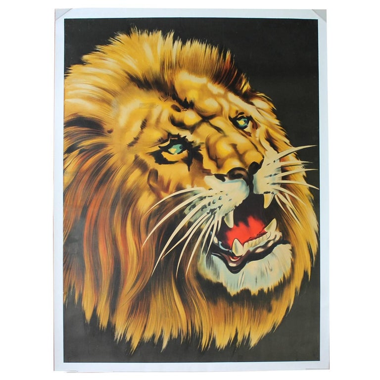 1960s Litho Poster with Lion, Circus  Triumph, Linen Backed