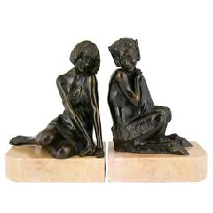 French Art Deco Bronze Bookends Satyr and Nymph Pierre Le Faguays, 1930