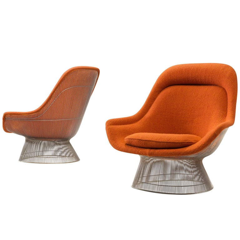 Warren Platner Easy Chairs in Original Orange Fabric
