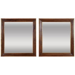 Pair Spanish Neoclassic Walnut and Giltwood Wall Mirrors, 19th Century