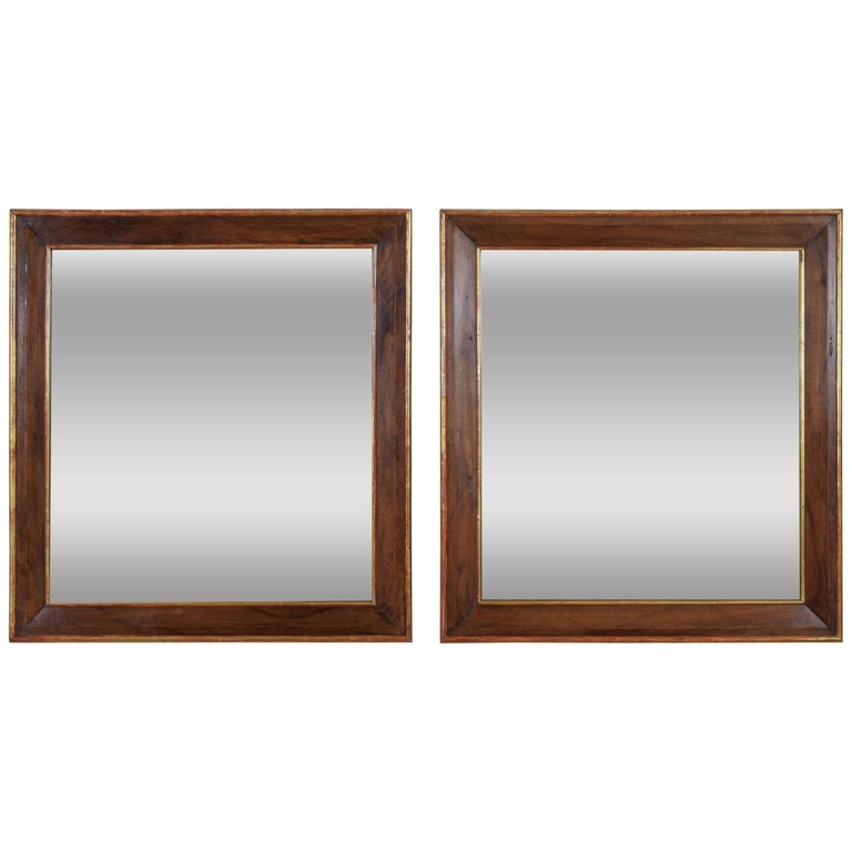 Pair Spanish Neoclassic Walnut and Giltwood Wall Mirrors, 19th Century For Sale