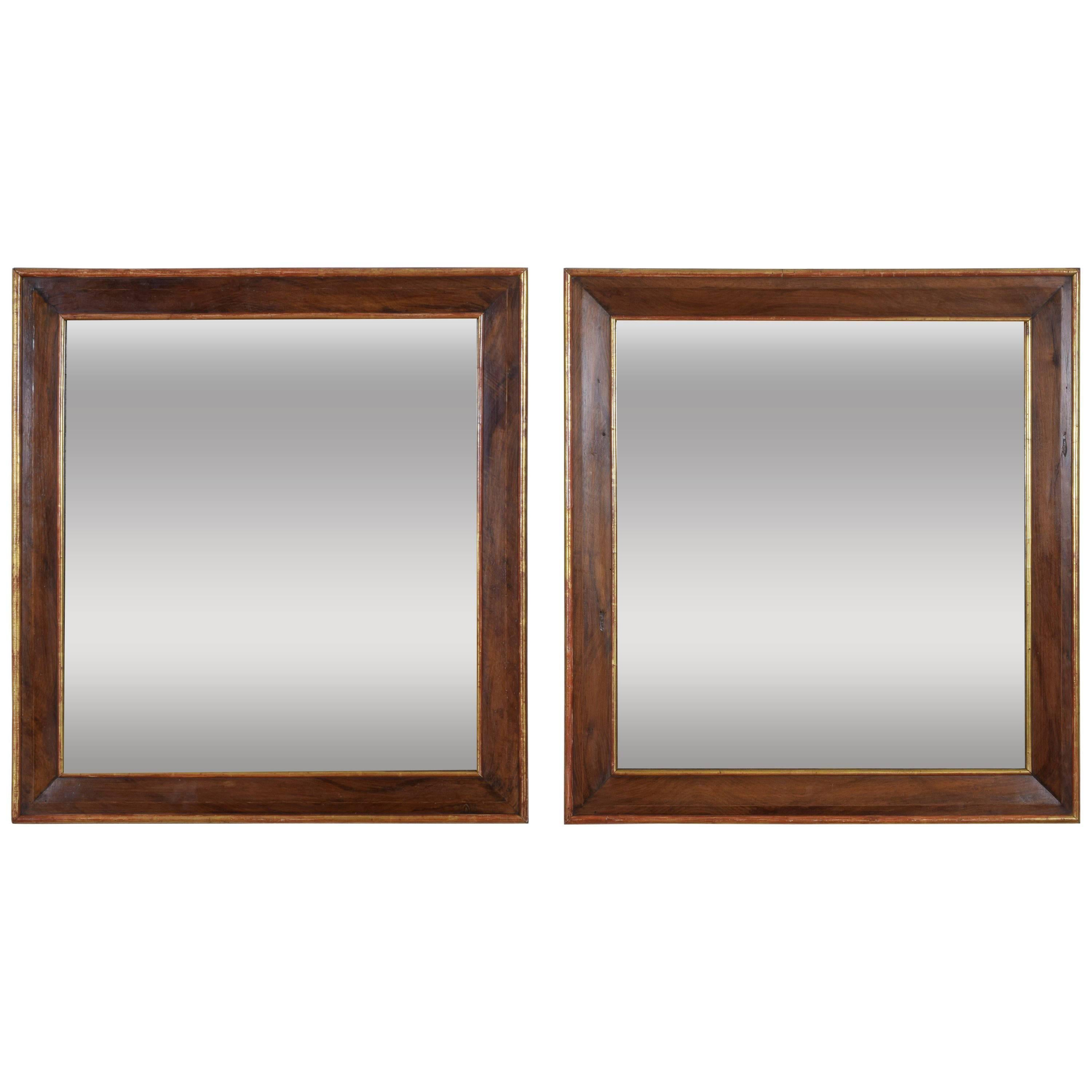 Captivating Pair Spanish Neoclassic Walnut And Giltwood Wall Mirrors, 19th Century