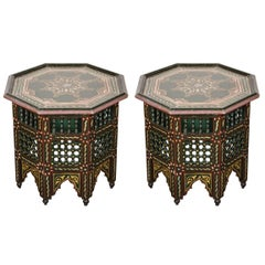Pair of Moroccan Hand-Painted Dark Green Side Table
