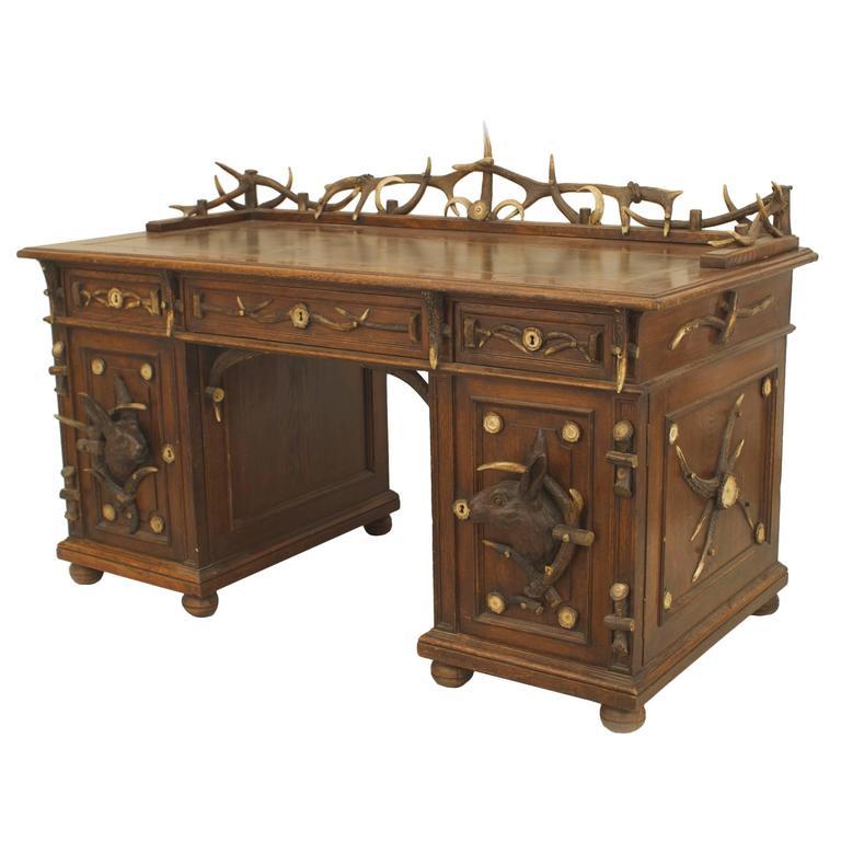19th c rustic german horn and carved oak desk for sale at 1stdibs. Black Bedroom Furniture Sets. Home Design Ideas