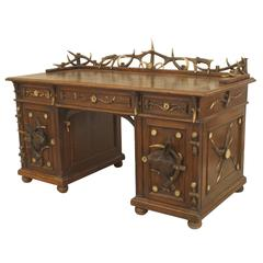 19th c. Rustic German Horn and Carved Oak Desk