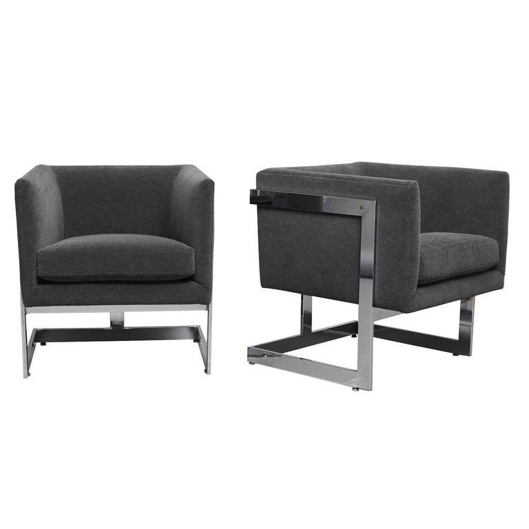 "Pair of Club Chairs Milo Baughman, ""T Back"" For Sale"