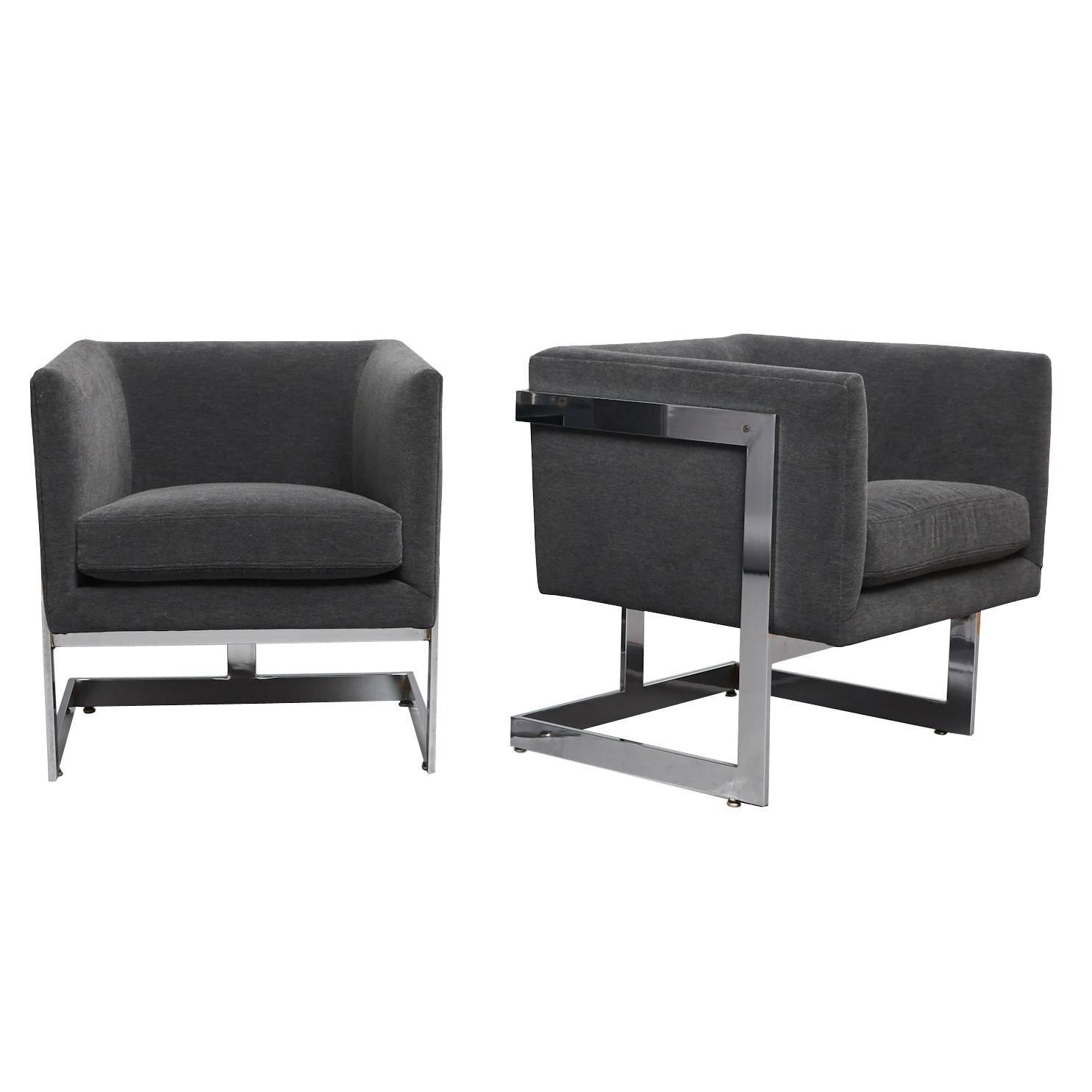 "Pair of Club Chairs Milo Baughman ""T Back"" For Sale at 1stdibs"