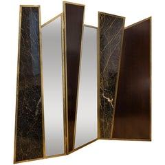 Screen in Black Port Laurent Marble, Cherrywood, Bronzed Mirror