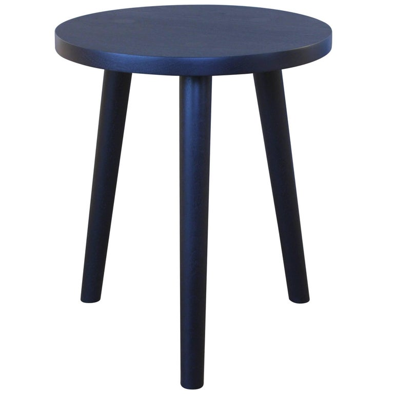 Ebonized Walnut, A Solid Wood Stool or Side Table with Turned Legs