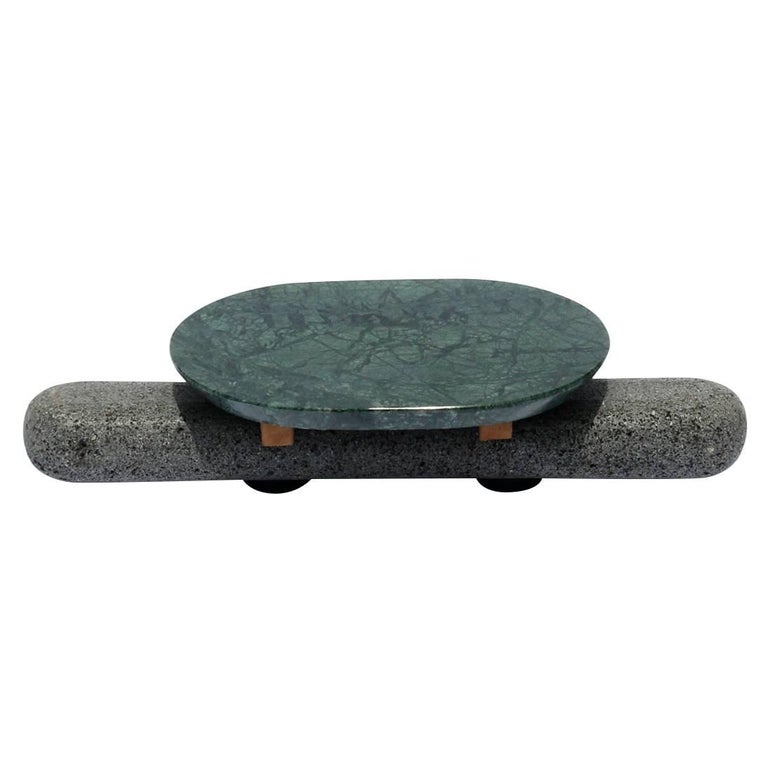 Sculptural Plate Volcanic Stone Green Marble (Large) For Sale