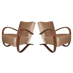 """Pair of Lacquered Bentwood """"H269"""" Armchairs by Jindrich Halabala"""