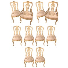 Set of 10 Venetian Parcel-Gilt and Paint Decorated Dining Chairs