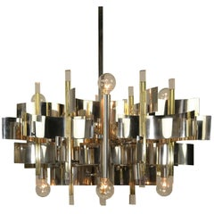 Gaetano Sciolari Chrome and Brass Twelve-Light Chandelier