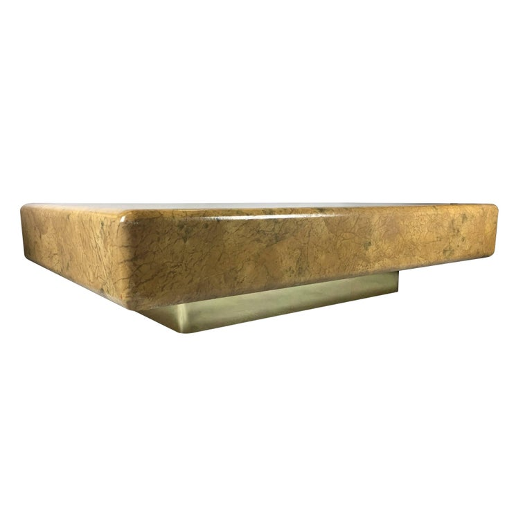 Modern Monumental Parchment Clad Cocktail Table with Brass Base For Sale